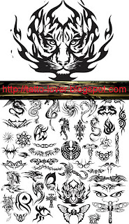Various Animal Tattoo Designs  Vector n Font Type