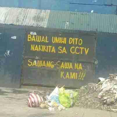 bawal umihe dahil kita ka sa cctv sign