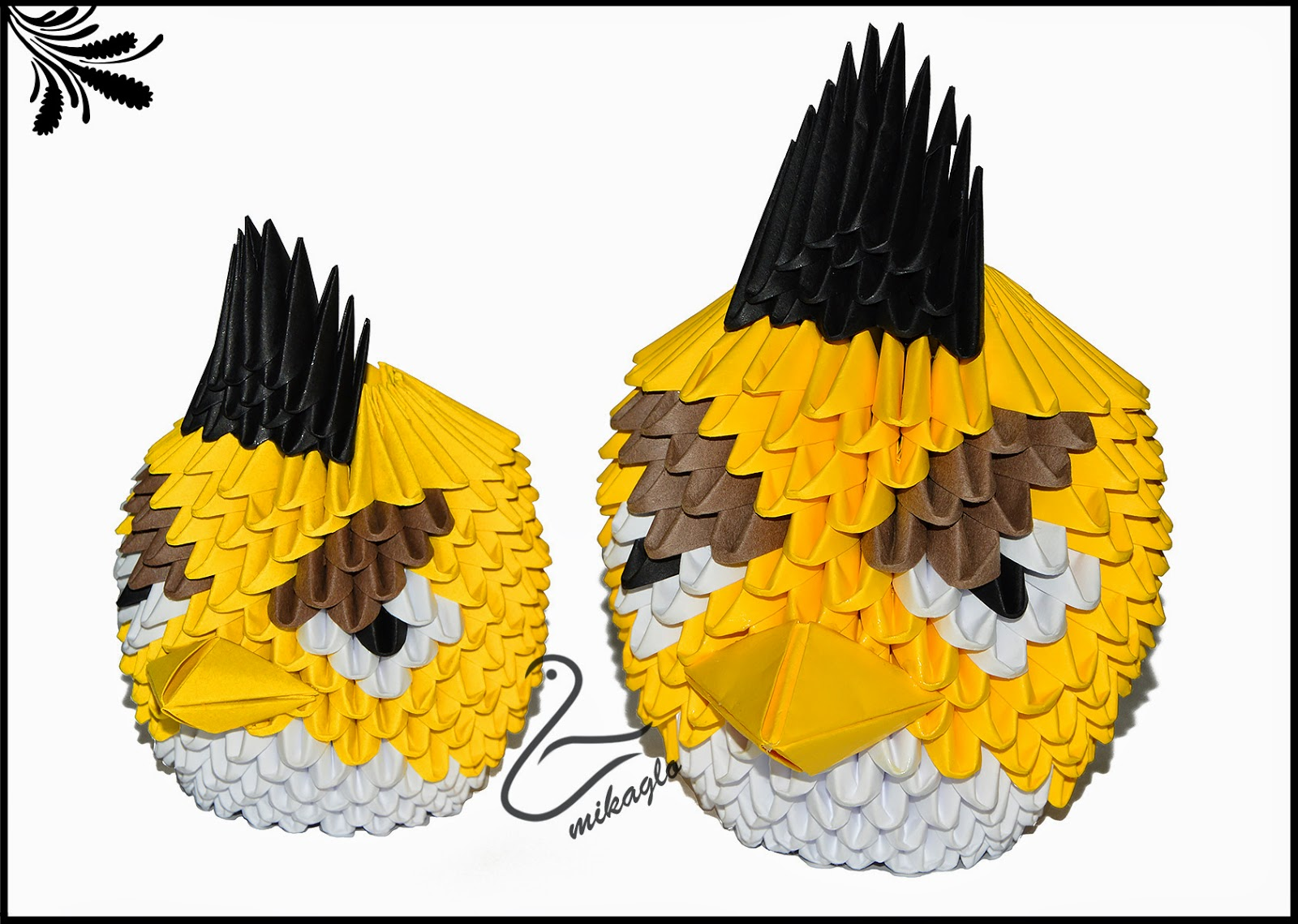 Yellow Angry Birds Origami 3d Diagram
