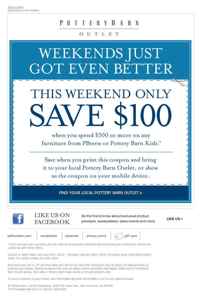 Pottery Barn Coupon Codes. viplikecuatoi.ml Show only verified coupons? Current Pottery Barn Coupons. Pottery Barn is based in San Francisco and is committed to helping customers find something for any room in the house, on the site, or in one of their many storefronts. On top of selling world-class products, Pottery Barn also offers design.