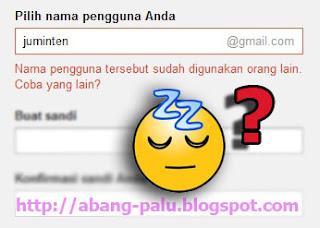 nama email digunakan orang lain