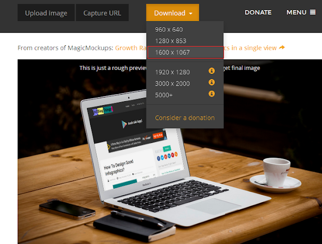 You will see a preview (if not don't worry) Click on download button and select size of your mockup