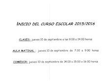 INFORMACIÓN INICIO DEL CURSO ESCOLAR 2015/2016