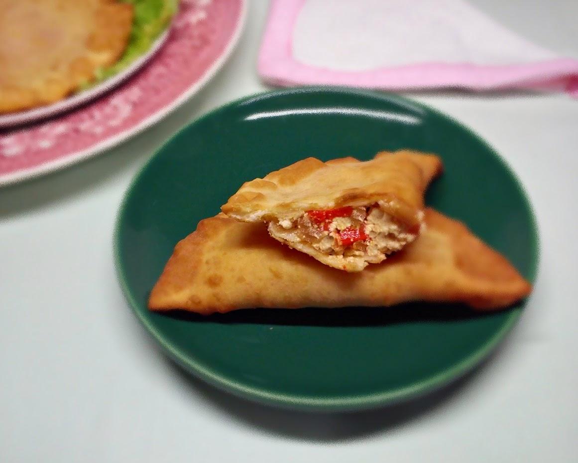 Relleno de Tofu, Cebolla Confitada y Pimiento Asado.
