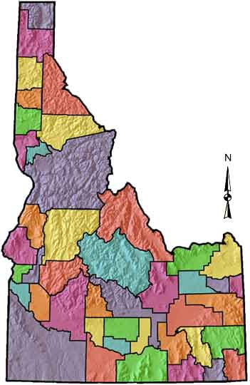 Idaho County Map Area