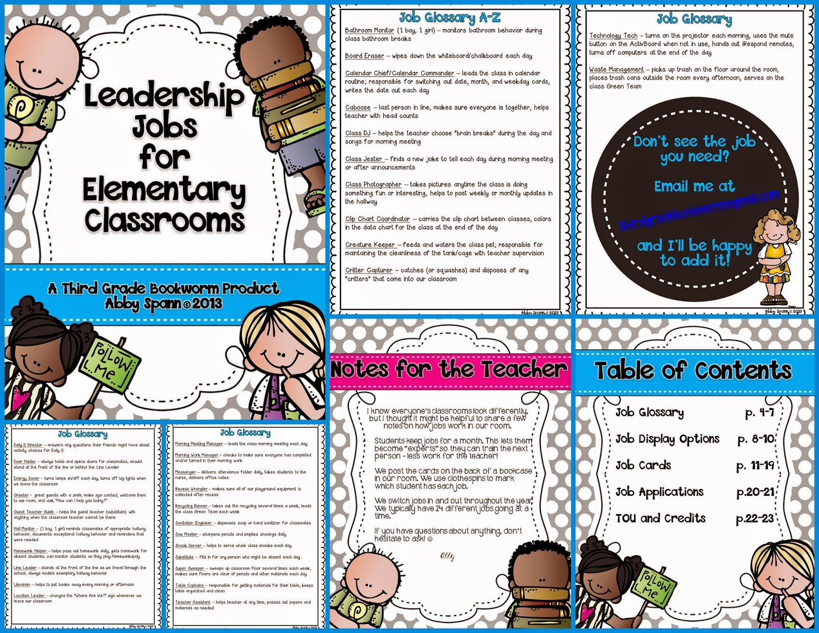 http://www.teacherspayteachers.com/Product/Leadership-Jobs-for-Elementary-Classrooms-Gray-Dots-834466