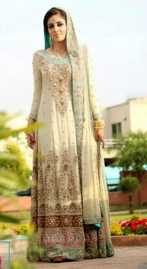 Pak indian full sleeve wedding dresses 2014 for married for Indian wedding dresses for girls