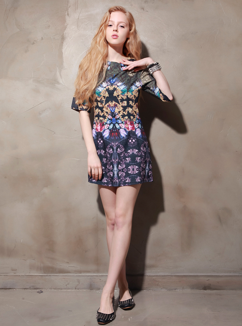 Digital Jewel Print Dress