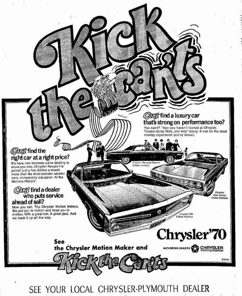 Mopar Ads & Oddities: Motion Maker / Kick the CAN'TS! ~ 1970