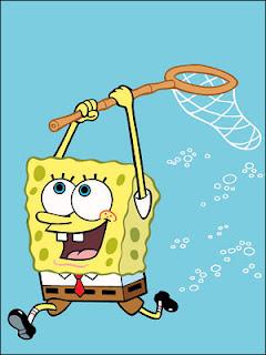 foto gambar kartun spongebob mengejar ubur-ubur