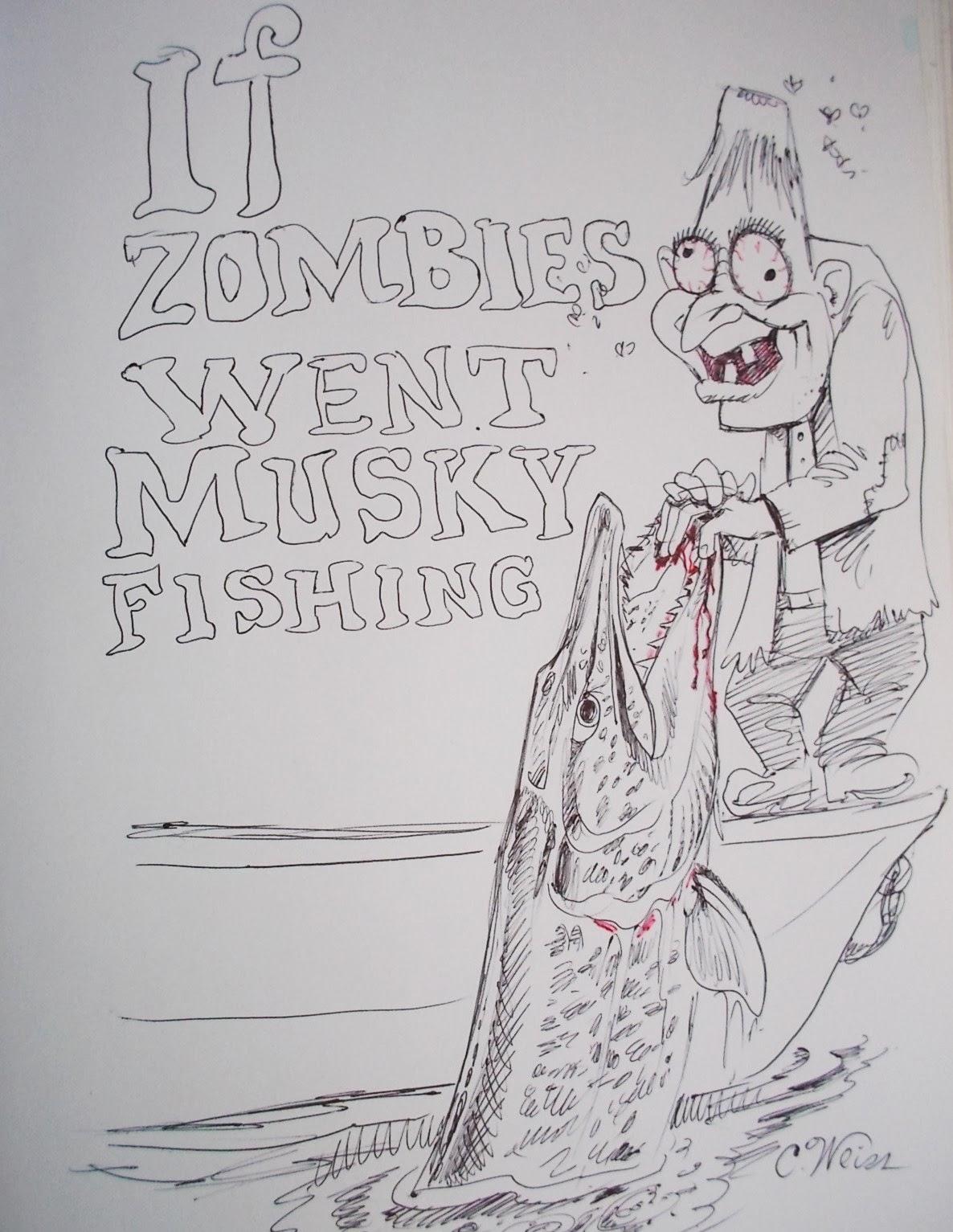 Musky Fish Drawing Celebrating muskie fishing