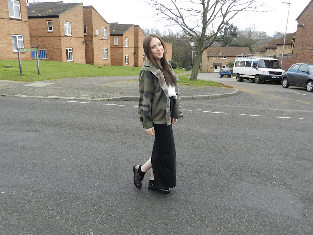 Army jacket and maxi skirt outfit of the day