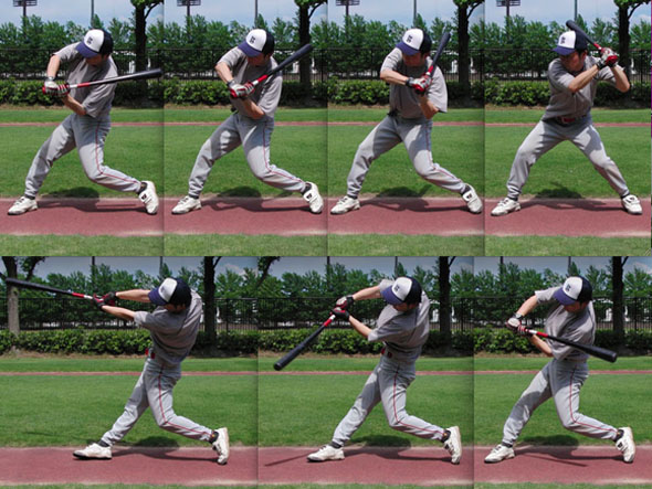 Hand muscles tighten after swinging bat
