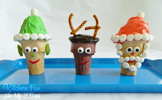 Christmas Cake Cones including a Elf, Rudolph the Red Nose Reindeer, & Santa!