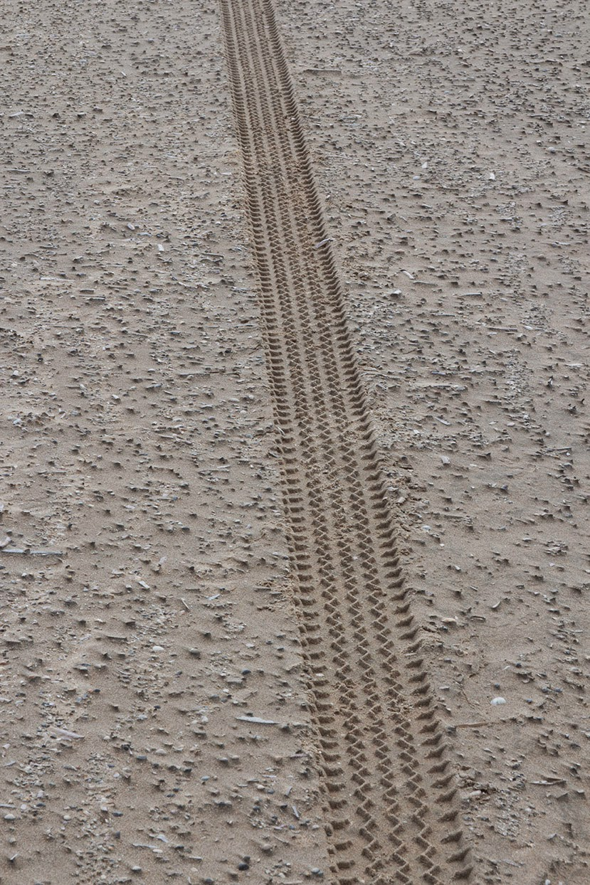 a single tyre track in sand
