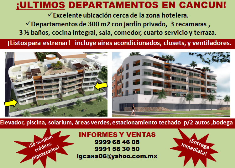 Departamentos de lujo 300m2 en cancun centro directorio for Mueblerias en cancun