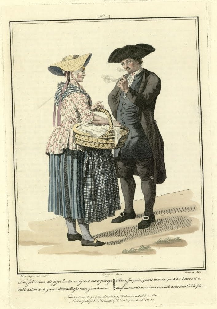 pipe-smoking 19th c tricorned hat-wearing man meets outdoors with peasant woman (colour engraving)