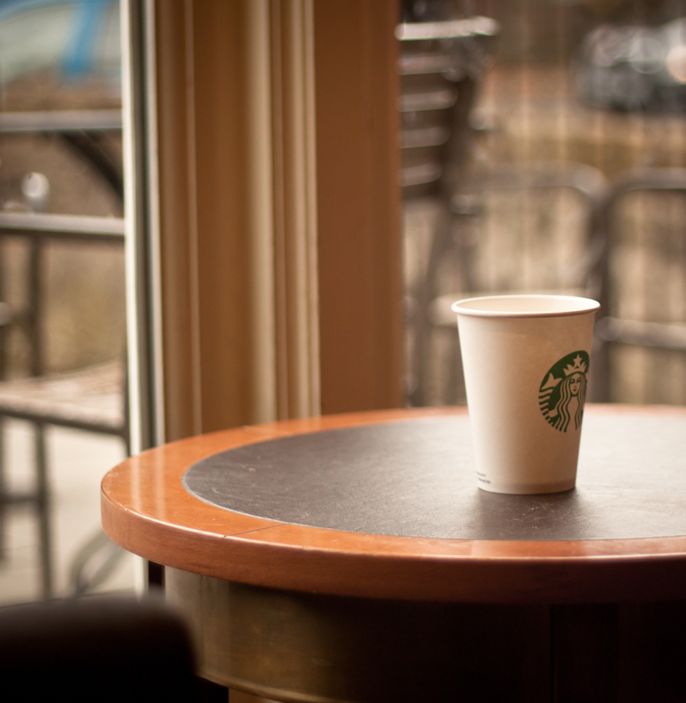 Starbucks strategically uses round tables so individual drinkers do not feel lonely.