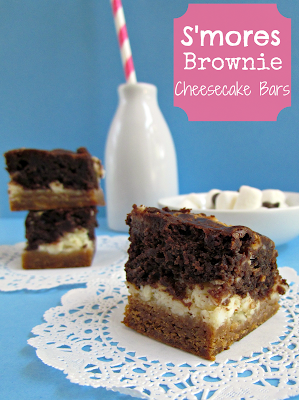 S'mores brownie cheesecake bars on a white doily with title
