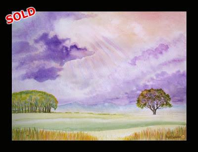 North East Artist Durham Artist Ingrid Sylvestre Watercolour by English Landscape painter Ingrid Sylvestre Majestic Skies Cleveland Hills SOLD