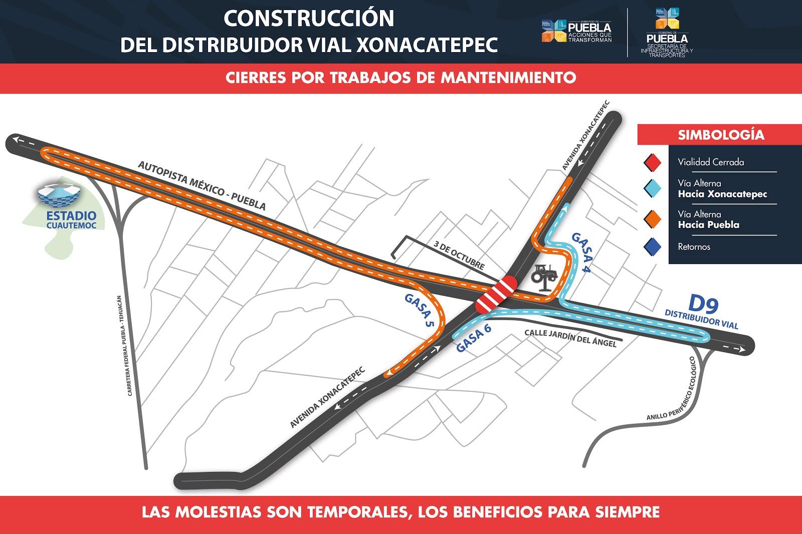 Rutas alternas por cierre en avenida Xonacatepec