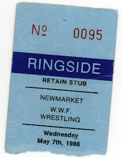Wrestling Ticket Stub for Ringside-Newmarket Recreation Complex, May 7 1986
