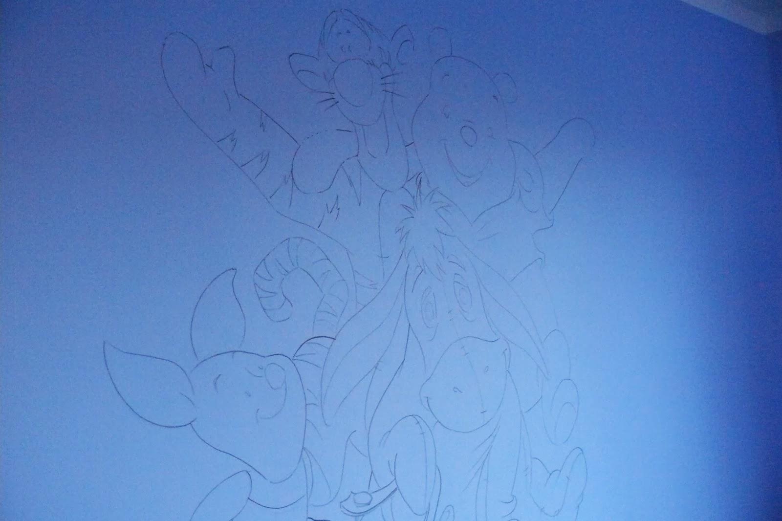Artystyczne malowanie bajki na  ścianie, grafika ścienna 3D