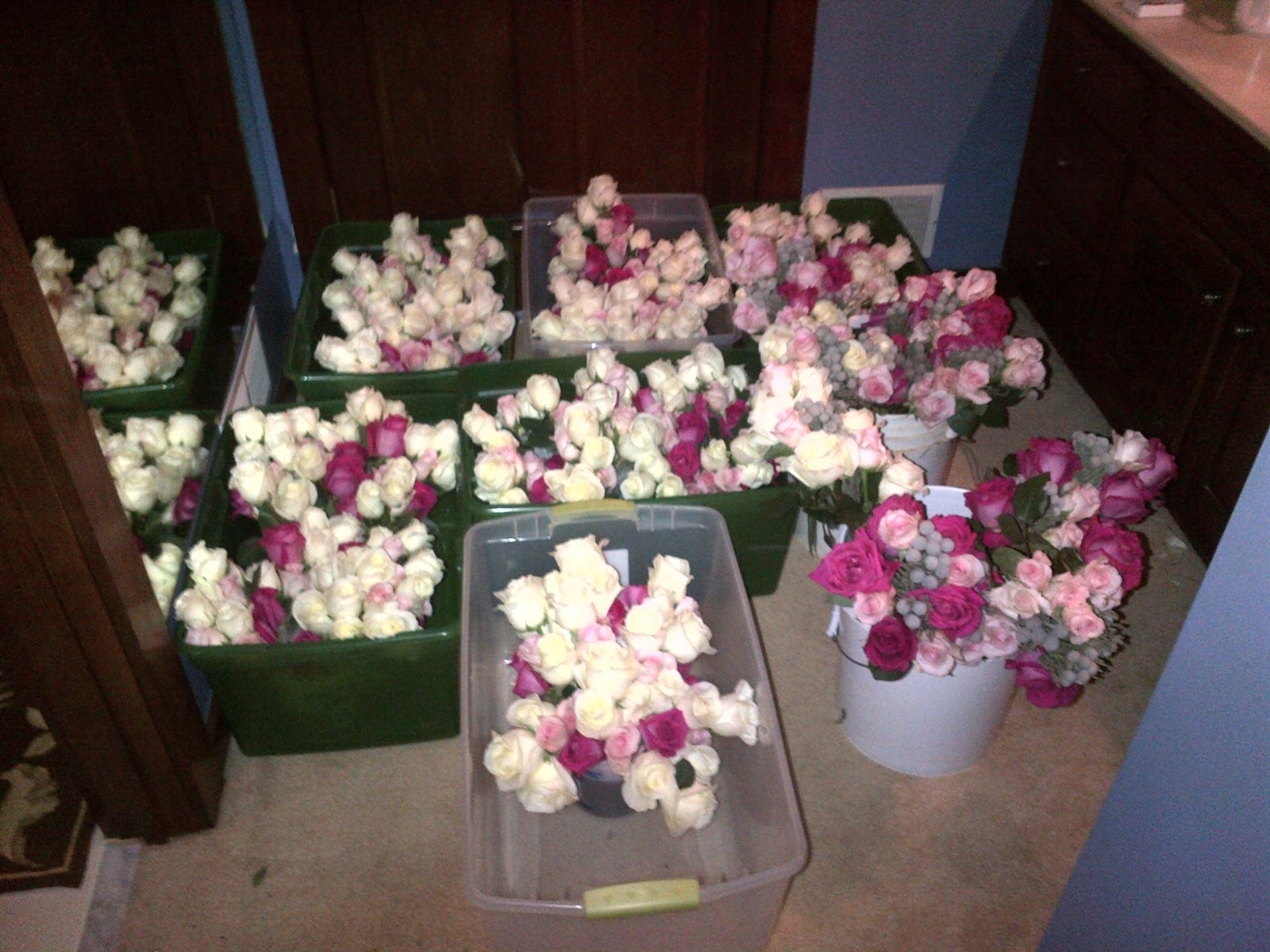 Rose bouquets in buckets