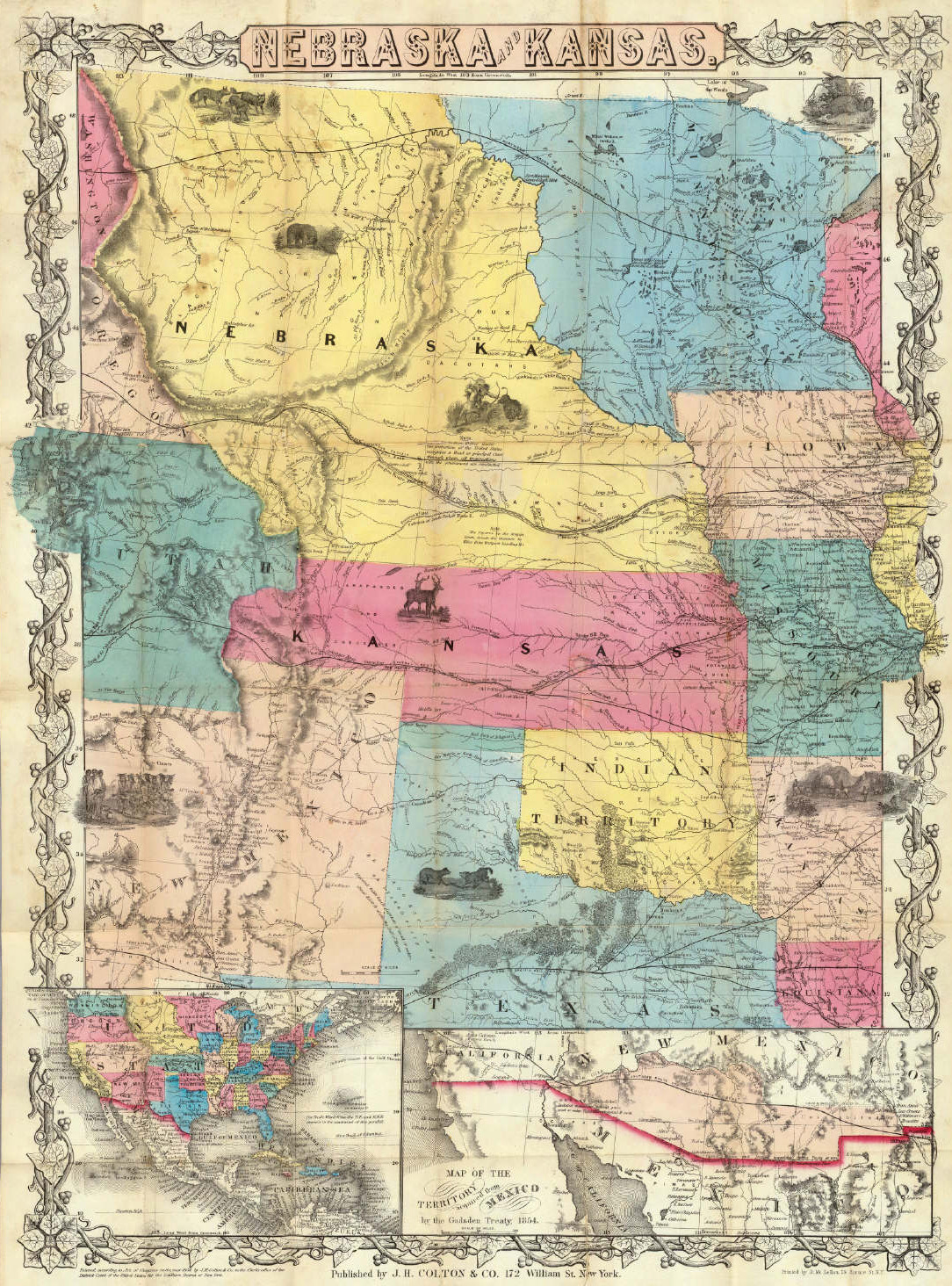 By This Act The Indian Territory Was Shrunk Down To Extend Between Texas And The 37th Parallel And The Area To The North Of That Was Divided Into Two