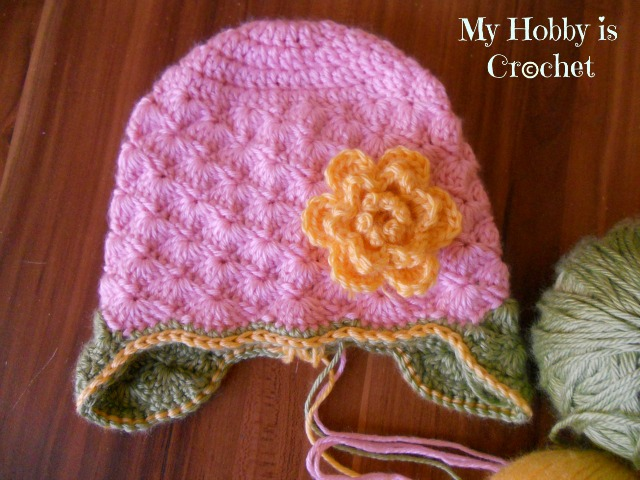 Crochet Hat Pattern Shell : My Hobby Is Crochet: Shell Stitch Earflap Hat with Flower ...