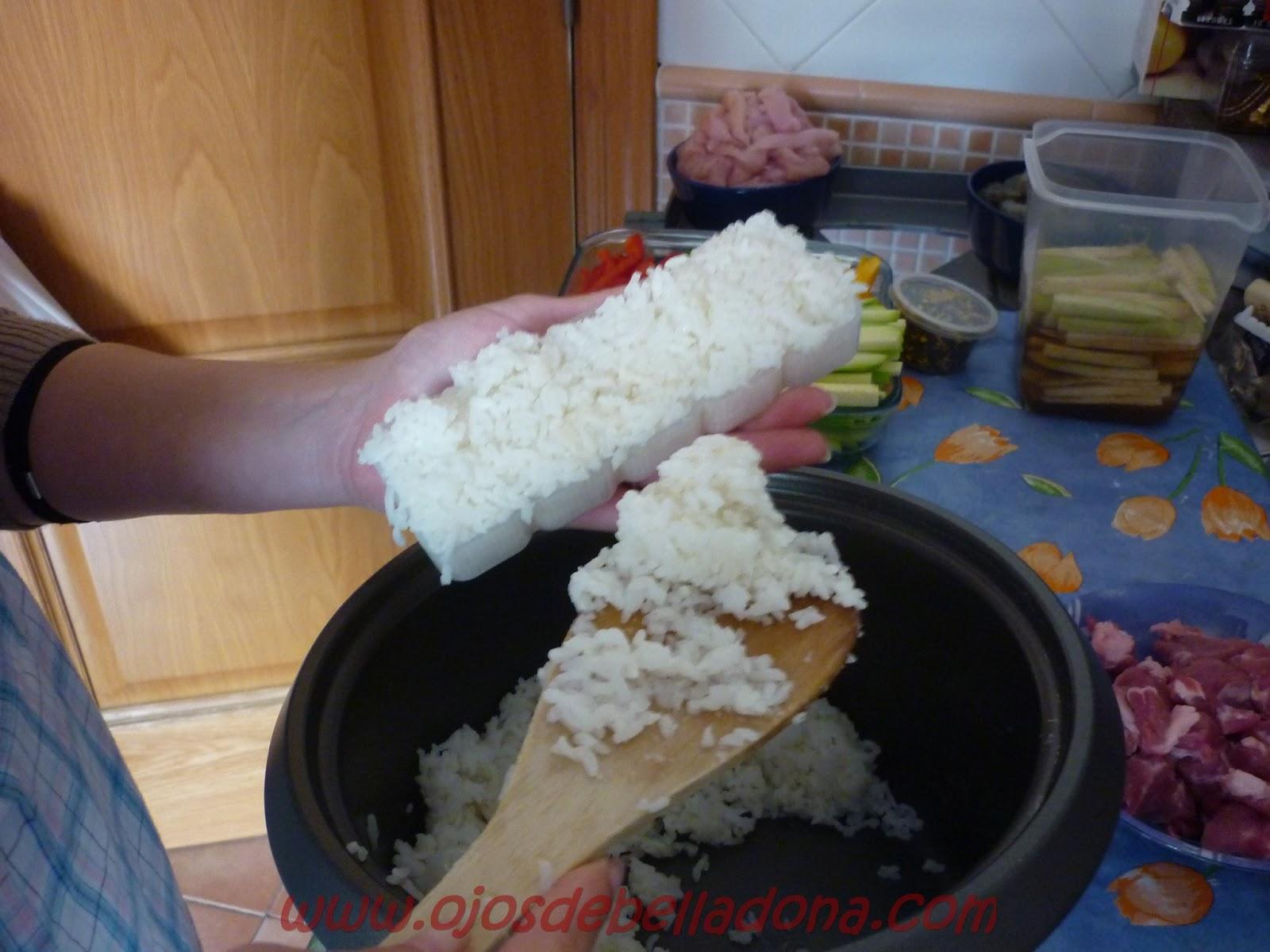 Haciendo bloques de arroz para nigiri