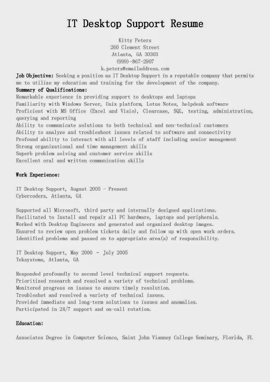 resume samples  it desktop support resume sample