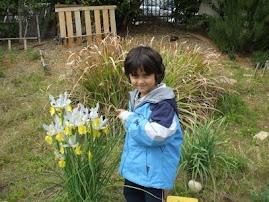 ילדי הגן עובדים בגינה הלימודית בחטיבה הצעירה