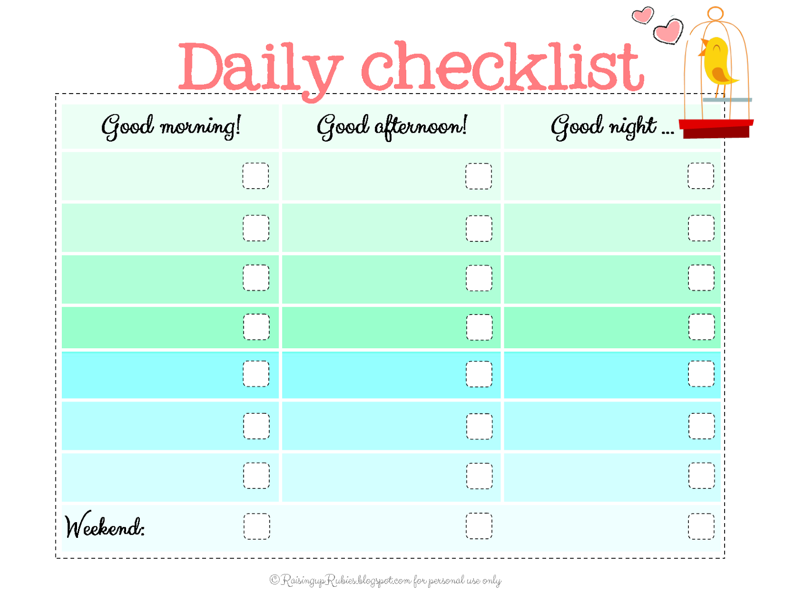 kids checklist template