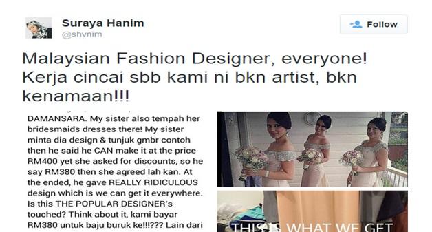 Wanita MENGAMUK Dakwa Ditipu & Dapat Dress Buruk Dari Fashion Designer TERKENAL