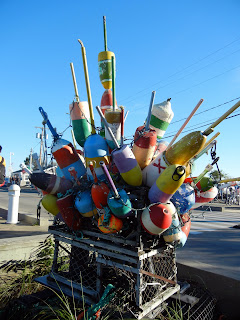 A decorative statue on a pier in Provincetown, MA