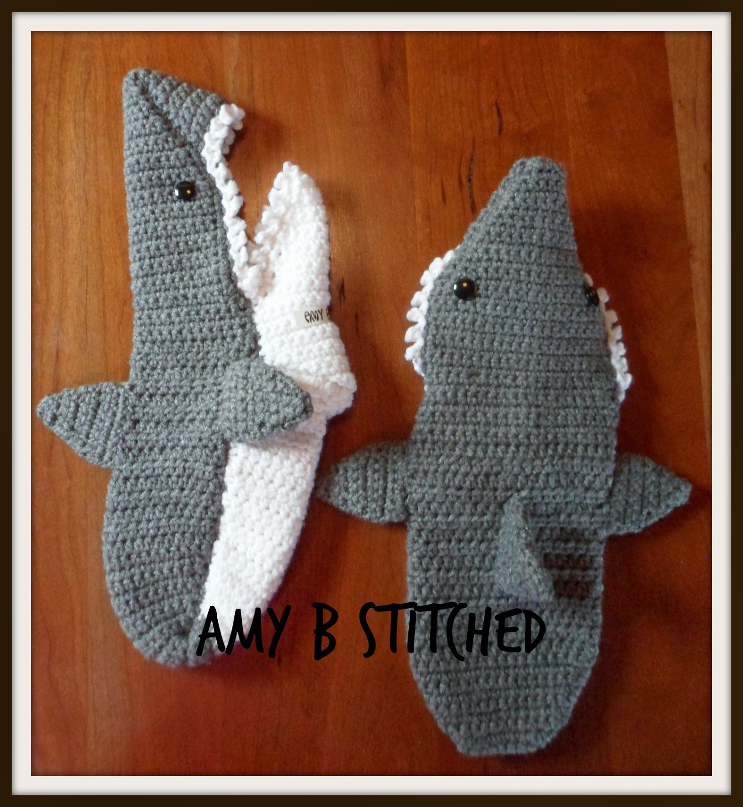 A Stitch At A Time for Amy B Stitched Crocheted Shark Slippers