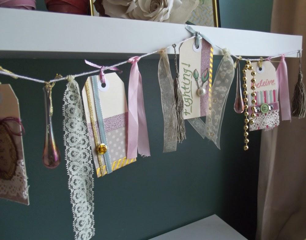 lace ribbon beads tags garland bunting