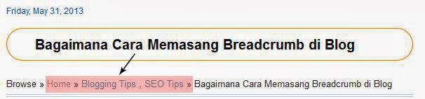 memasang breadcrumb
