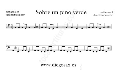 Sobre un pino verde partitura de Trombón, Tuba, Violonchelo, Fagot, Bombardino... en clave de Fa