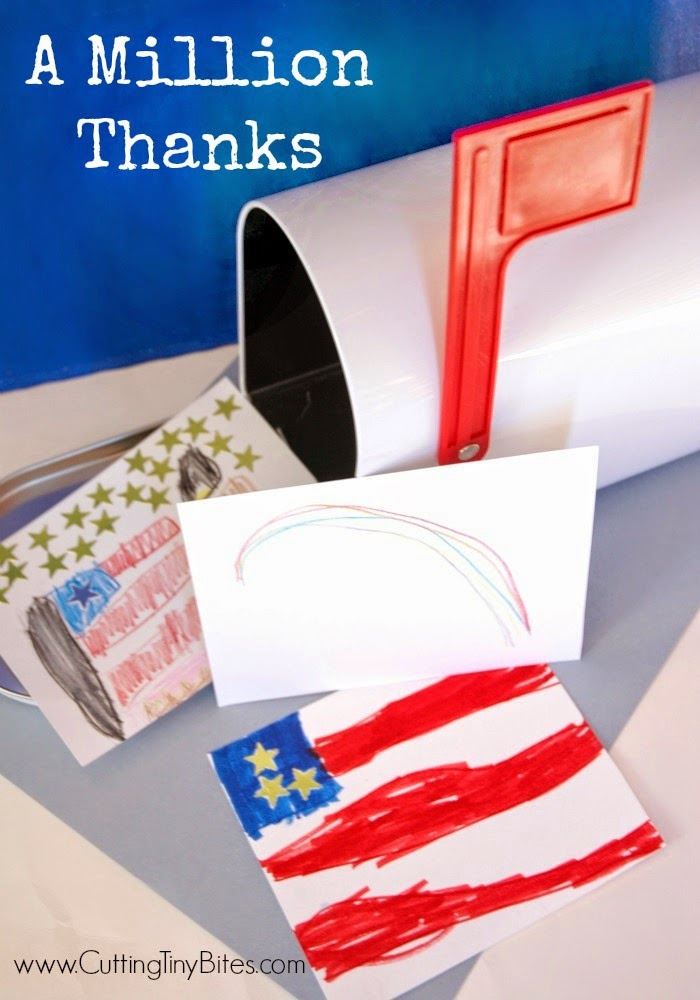 A Million Thanks- Teach kids to show kindness by writing letters to our troops.