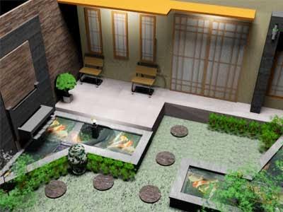 ide rumah dan furniture cara membuat kolam ikan minimalis