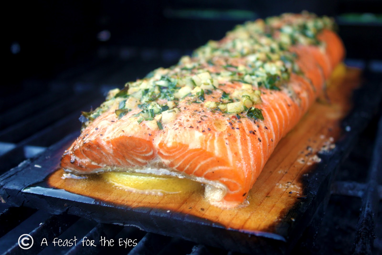 Feast for the Eyes: Cedar Plank Grilled Salmon With Tarragon Herbs