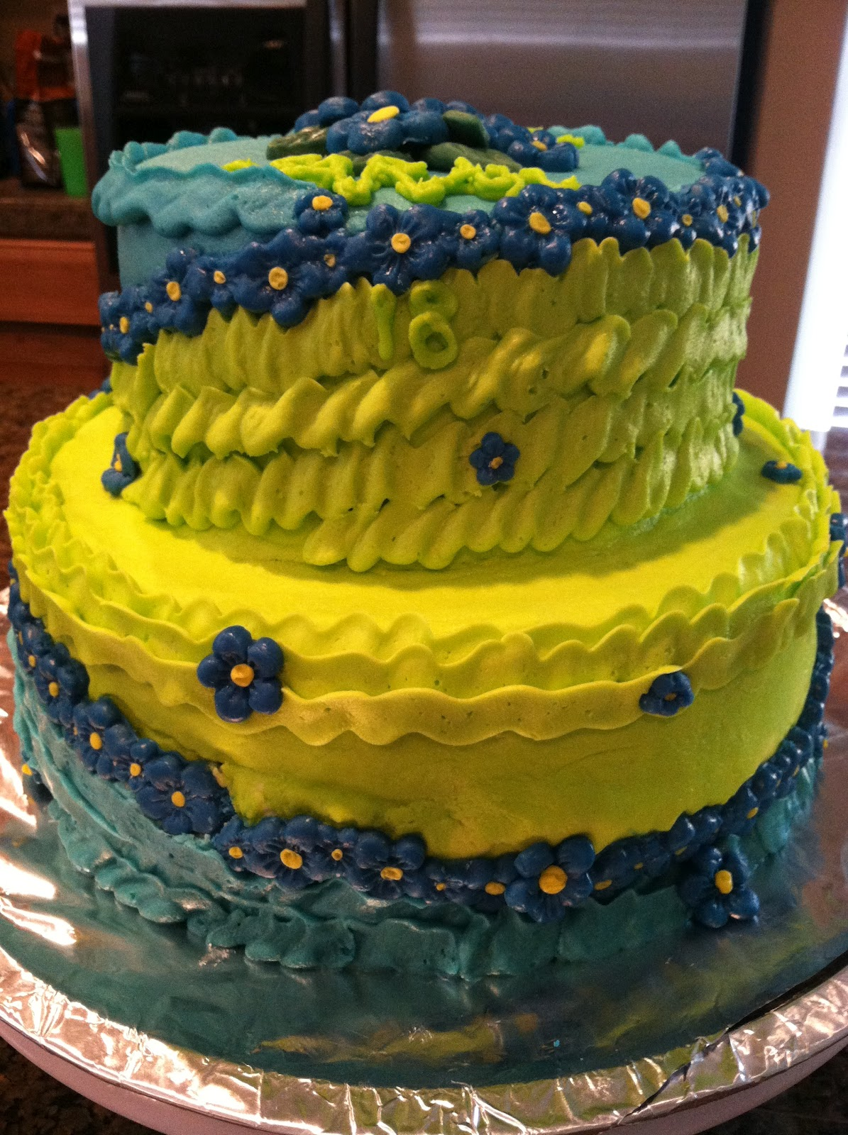 Cats Cake Creations: Pretty Blue and Green Flowered Birthday Cake