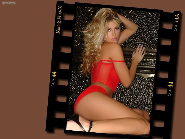 Brande Roderick in red lingerie