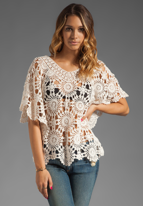 Free Online Crochet Top Patterns : Crochetemoda Blog: Blusa Branca de Crochet