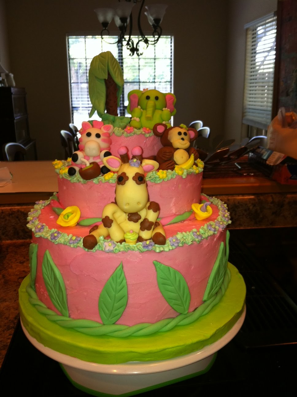 hill country backyard homestead jungle theme baby shower cake