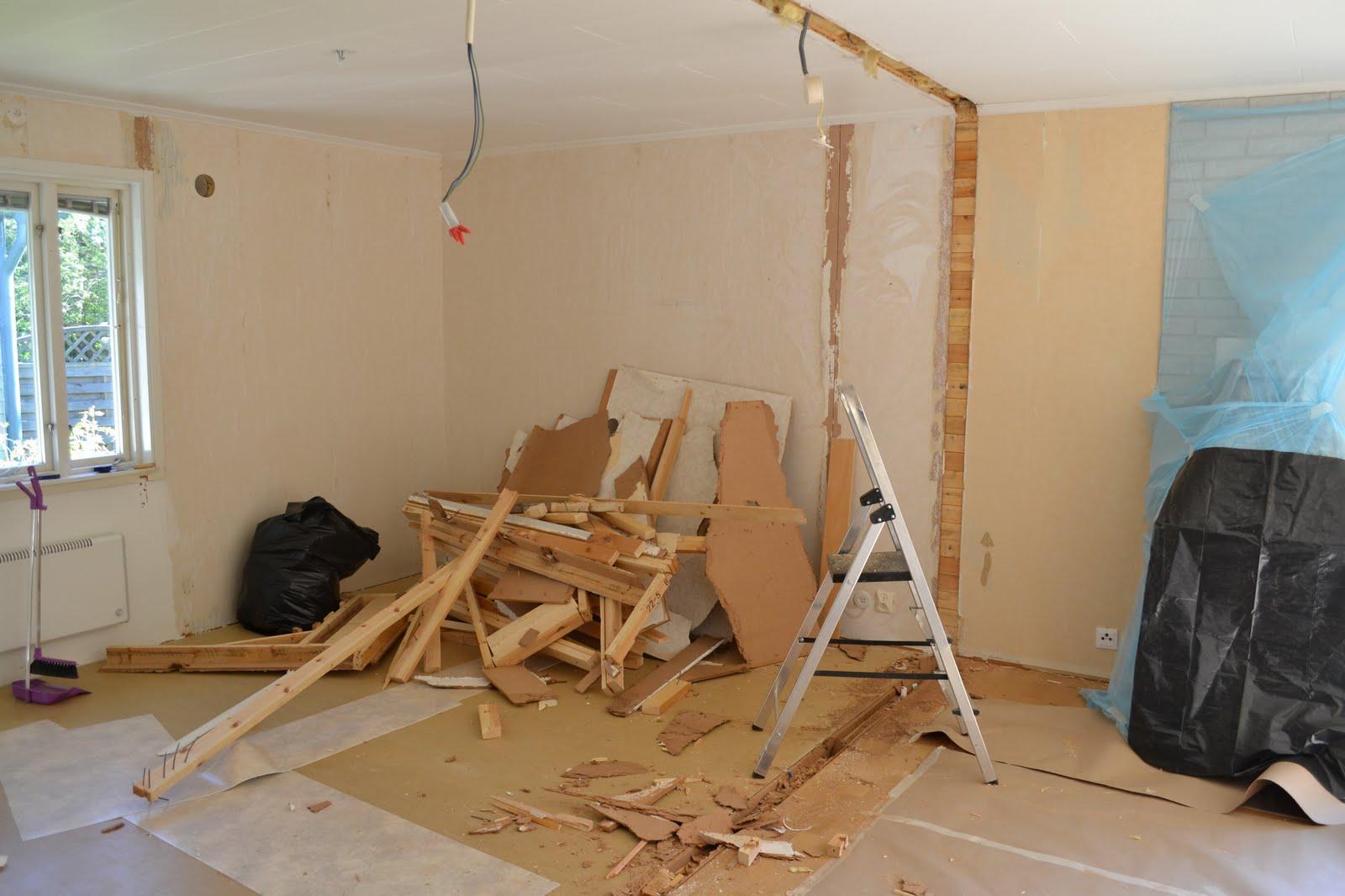 laga golv efter riven vägg