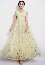 Sleeveless Organza Chiffon Rose Embroidered Lace Dress
