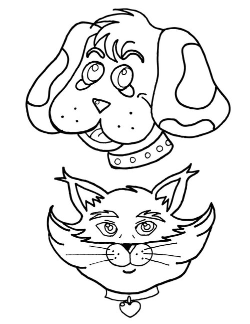 Dog And Cat Coloring Pages For